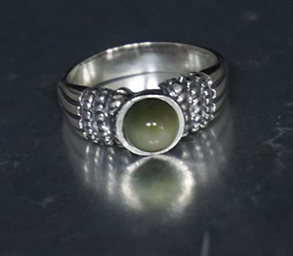 Ring of Abundance and Fortune 925 Sterling Silver Cats Eye Chrysoberyl Gemstone Lucky Ring From Holy Land