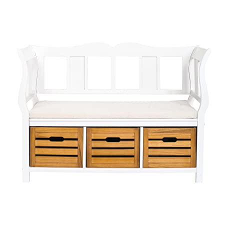 Rebecca Srl Bench Storage Unit 3 Drawers 1 Padded Seat Wood White Brown  Country Rustic Entrance