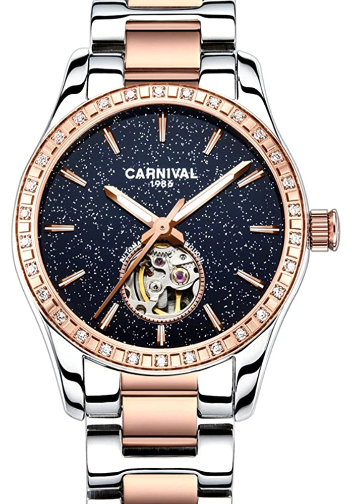 CARNIVAL 自動巻き高級レディース腕時計クリスタルラインストーンダイヤモンドステンレススチールブルーウォッチダイアル B078WS356X