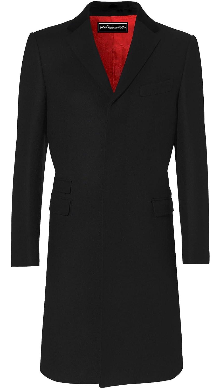 Hombre Abrigo Negro Lana y Cachemira Covert Invierno cálido con Cuello de Terciopelo y Forro de satén Rojo