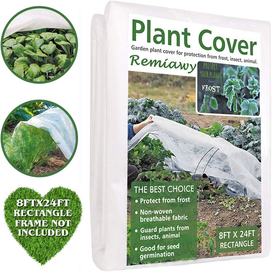 Remiawy Plant Covers Freeze Protection Frost Blankets for Plants-Reusable Frost Cover for Plants Cold Weather Floating Row Cover for Vegetables Insect Protection Season Extension 8FTX24FT