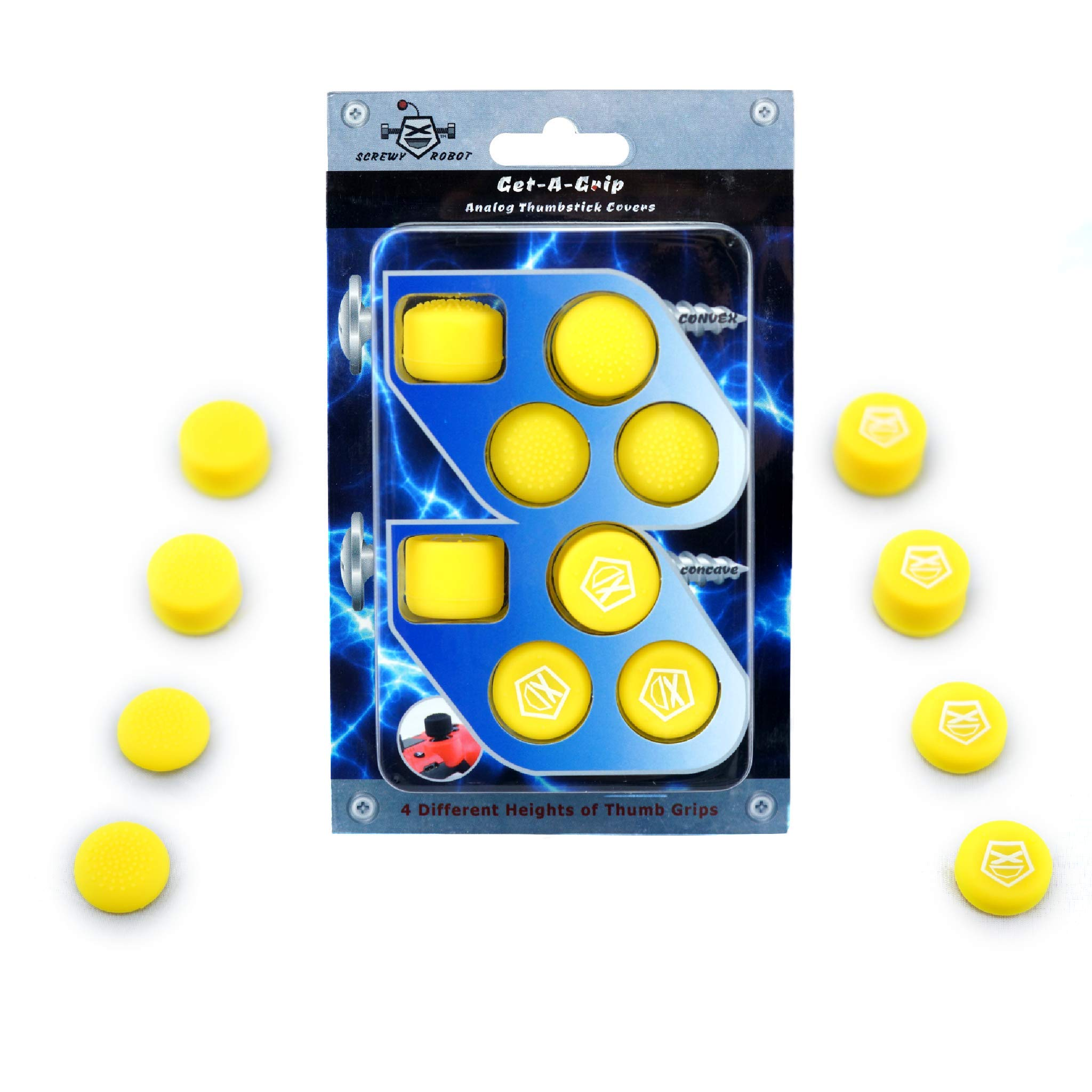 Get-A-Grip Analog Thumbstick Grip Covers for PS4/PS3 by ScrewyRobot (Yellow) by ScrewyRobot