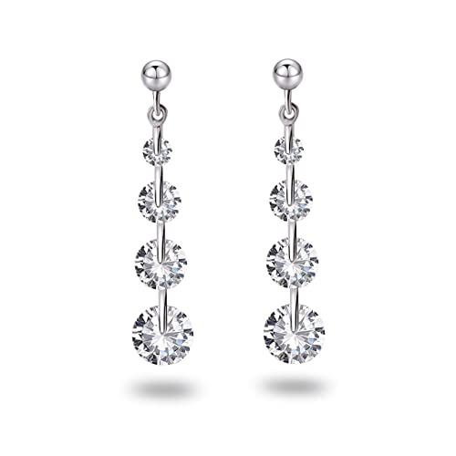 b295c7c49 Image Unavailable. Image not available for. Color: Fonsalette Elegant Drop  Dangle Earrings 925 Sterling Silver ...