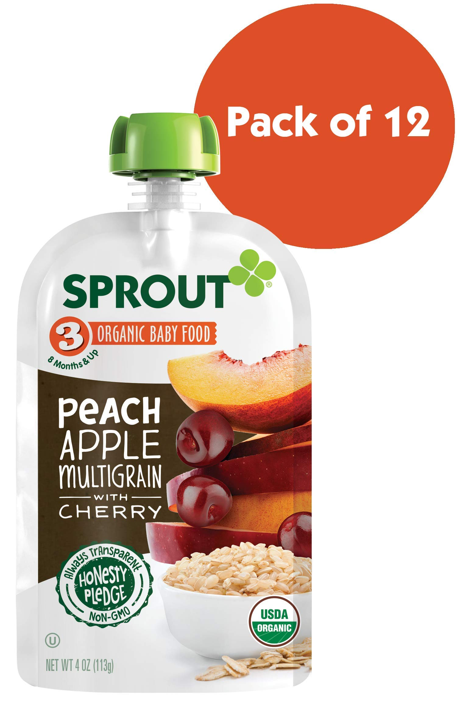 Sprout Organic Stage 3 Baby Food Pouches, Peach Apple Multigrain w/ Cherry, 4 Ounce (Pack of 12)