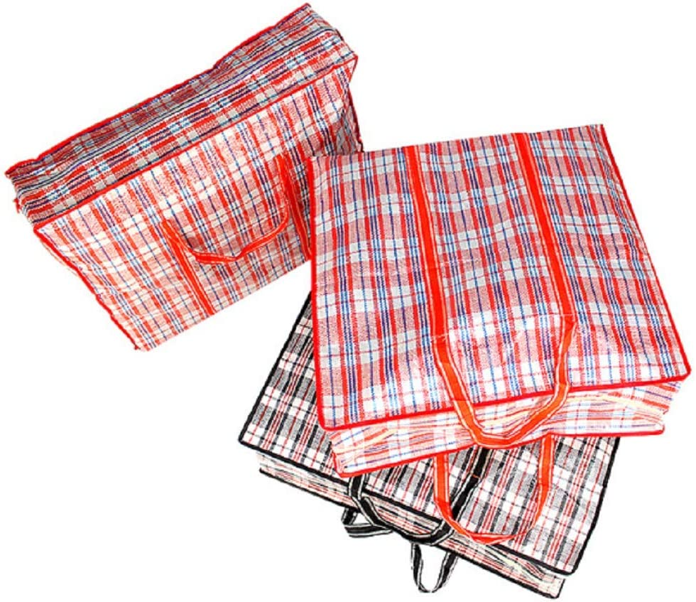 Beenlen Pack of 6 Reusable Large Plastic Checkered Storage Laundry Shopping Moving Bags with Zipper and Handles