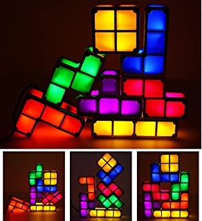 Great 7 Colors Night Light 7 PCS Tetris Stackable Tangram Puzzle LED Induction  Interlocking Desk Lamp 3D