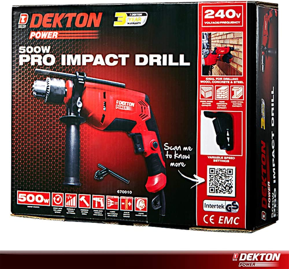 New Dekton Power Pro Impact Drill 240V 500W Wood Concrete Steel Hammer Handle