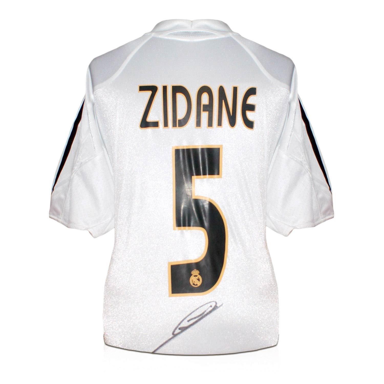 Zinedine Zidane Real Madrid 2004-05 Firmado balompié camiseta (Con ...