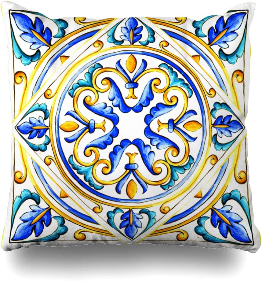 Ahawoso Throw Pillow Covers Blue Abstract Italian Majolica Tiles Floral Vintage Green Black Color Flower Glass Graphic Pattern Home Decor Pillow Case Square Size 18 X 18 Inches Zippered Pillowcase Amazon Co Uk Kitchen