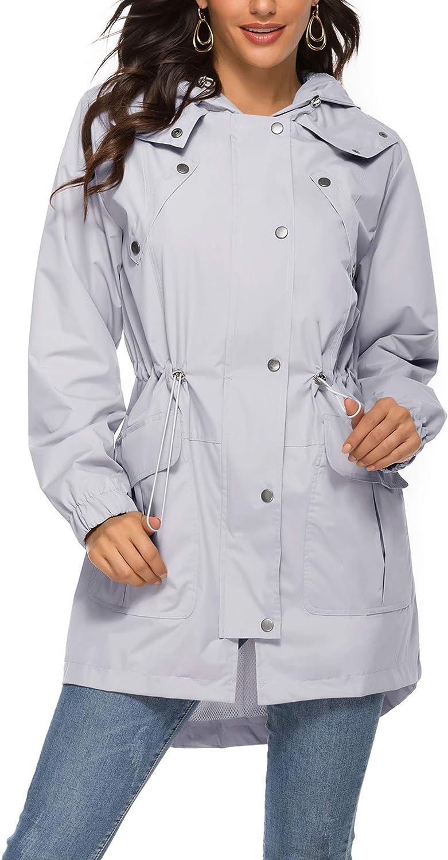 Avoogue Outdoor Active Rain Jacket Women Waterproof Lightweight Hood Raincoat
