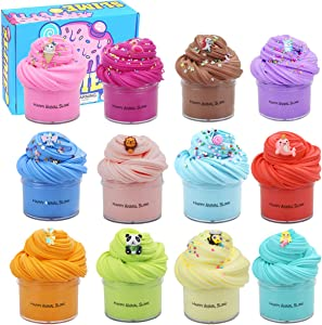 MannyBen 12 Packs Butter Slime, with Various Animal-Themed Trinkets, Super Soft and Non-Sticky, Party Favors Stress Relief Toys for Boys and Girls