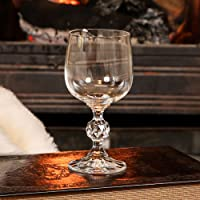 Crystal Wine / Port / Liqueur Glass - beautiful luxury gift or ideal for setting the Christmas table - unusual crystal cut glass with ornate stem and base - great festive drinking glass and ideal for him or her - H14.5 x W6cm