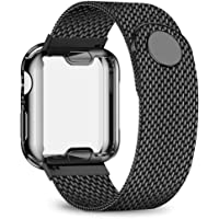 jwacct Stainless Steel Bands Compatible with Apple Watch Band 38mm40mm42mm44mm - with Full Screen Protector for iWatch Series 5/4/3/2/1 - Adjustable Metal Magnetic Strap in 8 Classy Colors