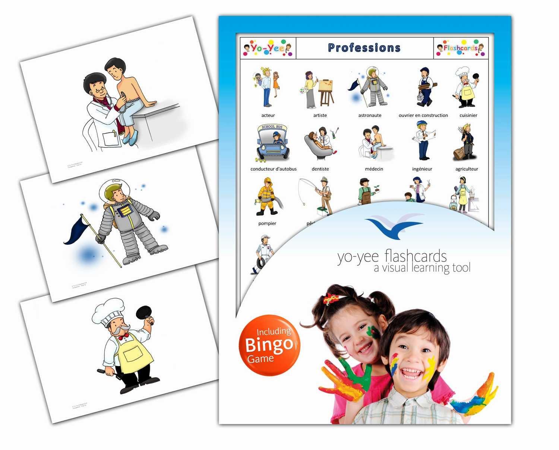 Yo-Yee Flashcards Cartes Images en français Avec jeu de Bingo correspondant - Professions - Pour l'Encouragement linguistique Dans Les jardins d'Enfants, Les écoles et Pour l'orthophonie B078WBTS8Y Fremdsprachen Schön und c