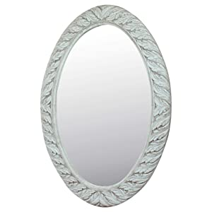 Meher Creation White Color Oval Frame Wooden Hand Carved Wall Mirror/Makeup Mirror/Decorative Wall Mirror (Size :- 36 X 25.5 X 1 Inches)