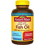 Nature Made Burp-Less Fish Oil 1200 mg One Per Day, 120 Softgels, Fish Oil Omega 3 Supplement For Heart Health