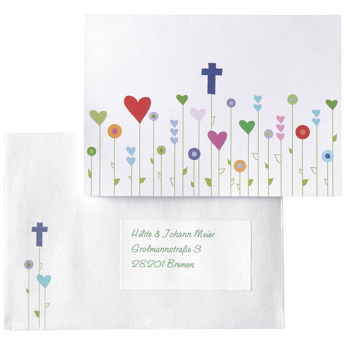 15 Einladungskarten, Dankeskarten, Glückwunschkarten Kommunion/Konfirmation/Taufe    Gottes Wiese   Inkl