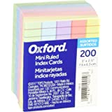 """Oxford Mini Ruled Index Cards, Ruled, 3"""". x 2.5"""" , Assorted Colors, 200 ea"""