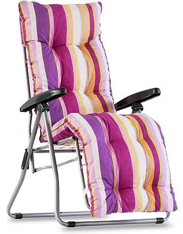 Recambio de cojín para tumbona con reposapiés, superacolchado, color multirayas rosa/lila/