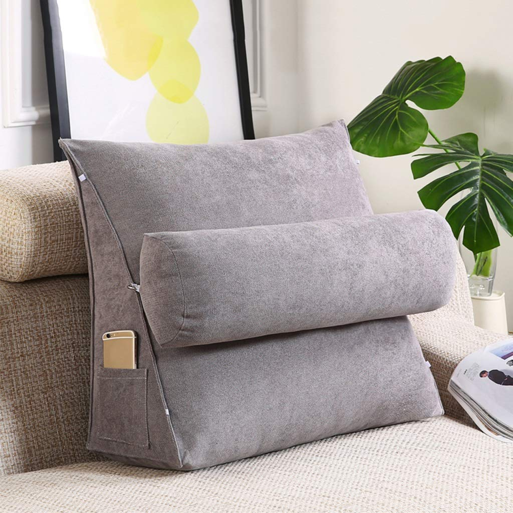 Lil with Headrest Sofa Waist Belt Triangle Cushion, Bed Head Large Office Backrest, Protection Neck Pillow,Removable Washable (Color : Smoky Gray, Size : 454520cm)