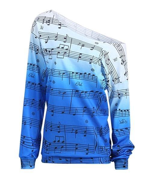 AILIENT Blusas Nota Musical Impresa Mujeres Hipster Camisetas De Manga Larga AsimetrÍA T Shirt Outwear Camisas