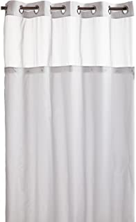 Hookless RBH40MY231 Mystery Snap In Peva Liner Fabric Shower Curtain   White