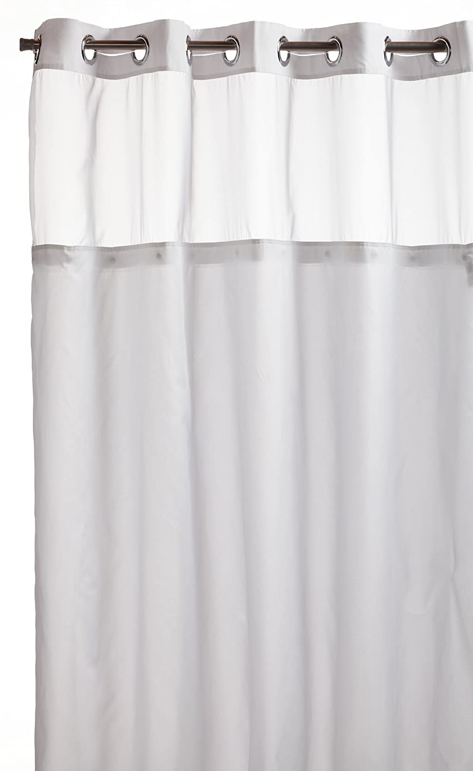 Arcs & Angles Hookless RBH40MY231 Mystery Snap-In Peva Liner Fabric Shower Curtain - White