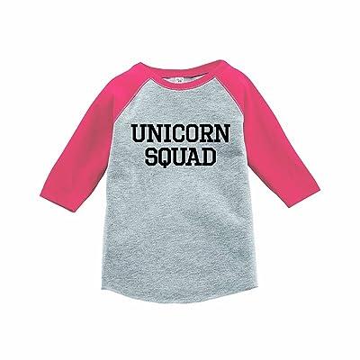 7 ate 9 Apparel Funny Kids Unicorn Squad Baseball Tee Pink