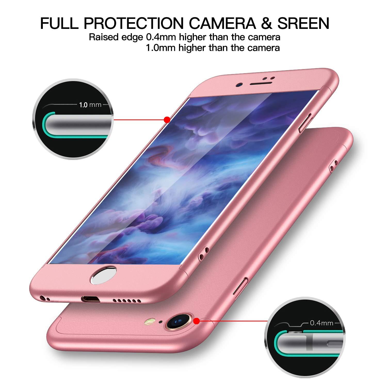 Pellicola Protettiva Vetro Temperato Blu con Losvick Custodia iPhone 7 Ultra Sottile Matte 360 Gradi Cover 3 in 1 PC Antiurto Antiscivolo Protectiva Bumper per iPhone 7 4.7 Pollici