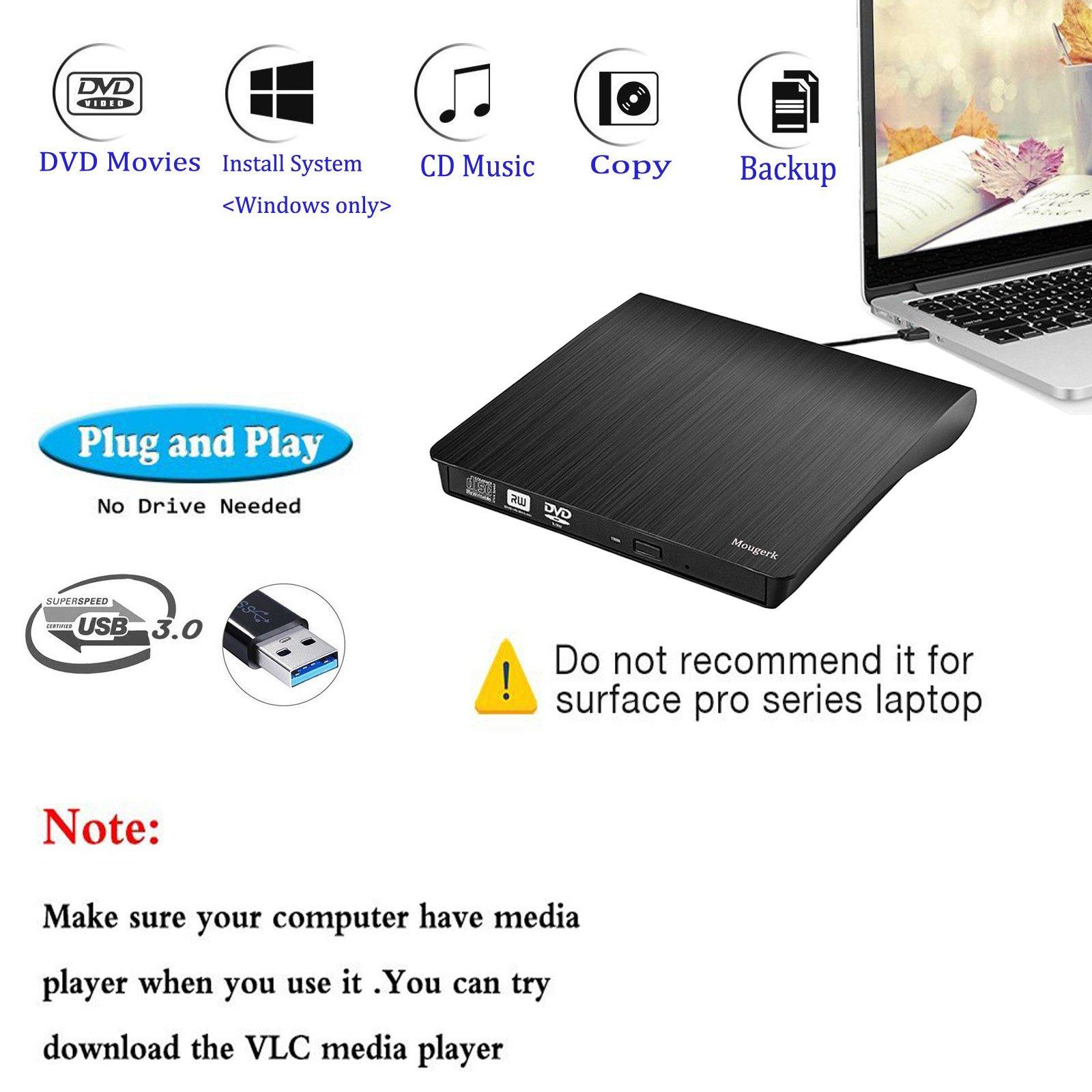 External DVD CD Drive, Mougerk USB 3.0 Ultra Slim Drives CD DVD RW Player/ DVD CD ROM Drive / Writer / Rewriter / USB CD Burner For Mac Macbook Pro, Laptops Desktops by Mougerk (Image #2)