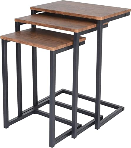 Zenvida Nesting Side End Tables Set of 3 Modern Rustic Stacking Accent Furniture