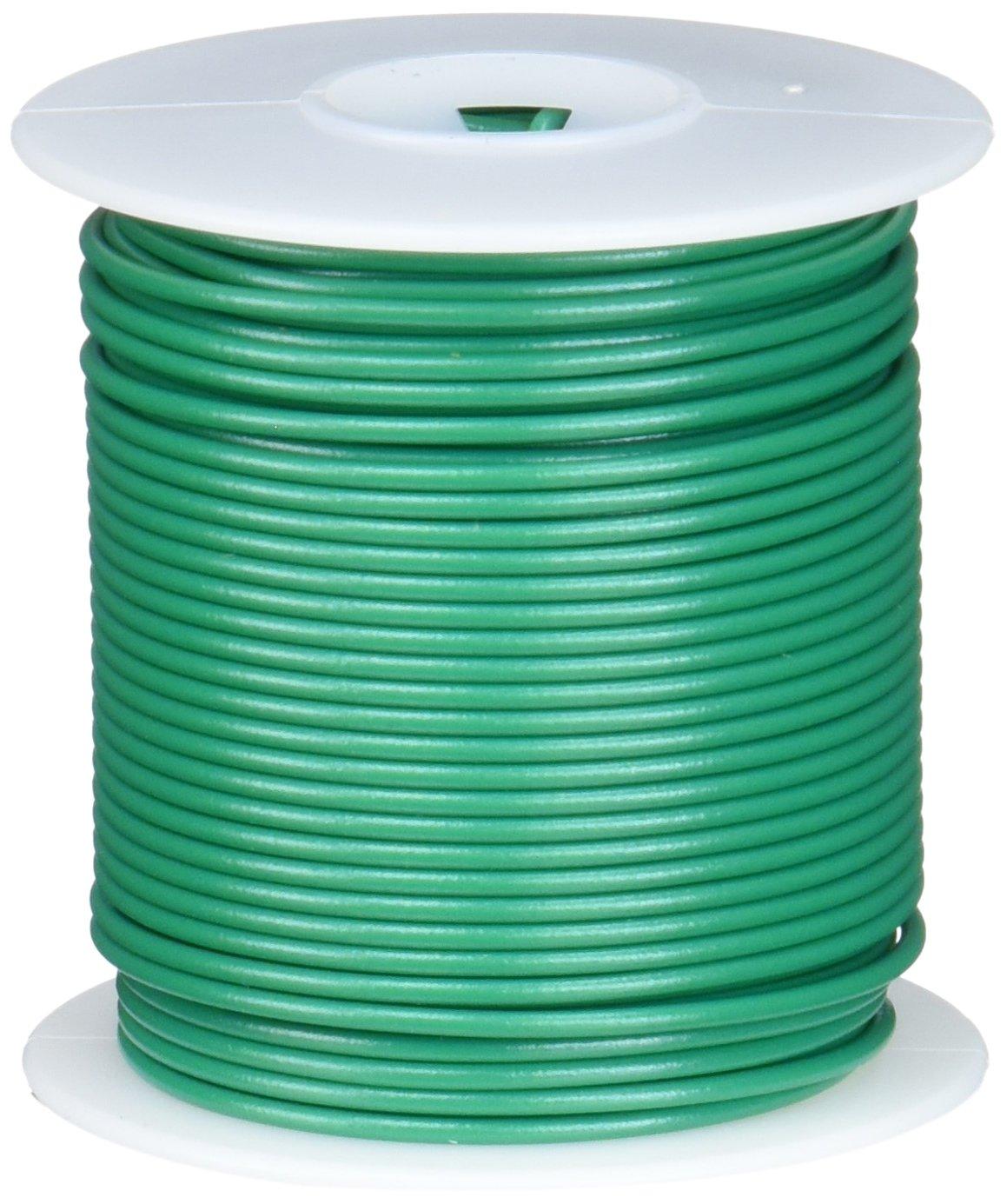 Remington Industries 22UL1007SLDGRE UL1007 22 AWG Gauge Solid Hook-Up Wire, 300V, 0.0253'' Diameter, 100' Length, Green