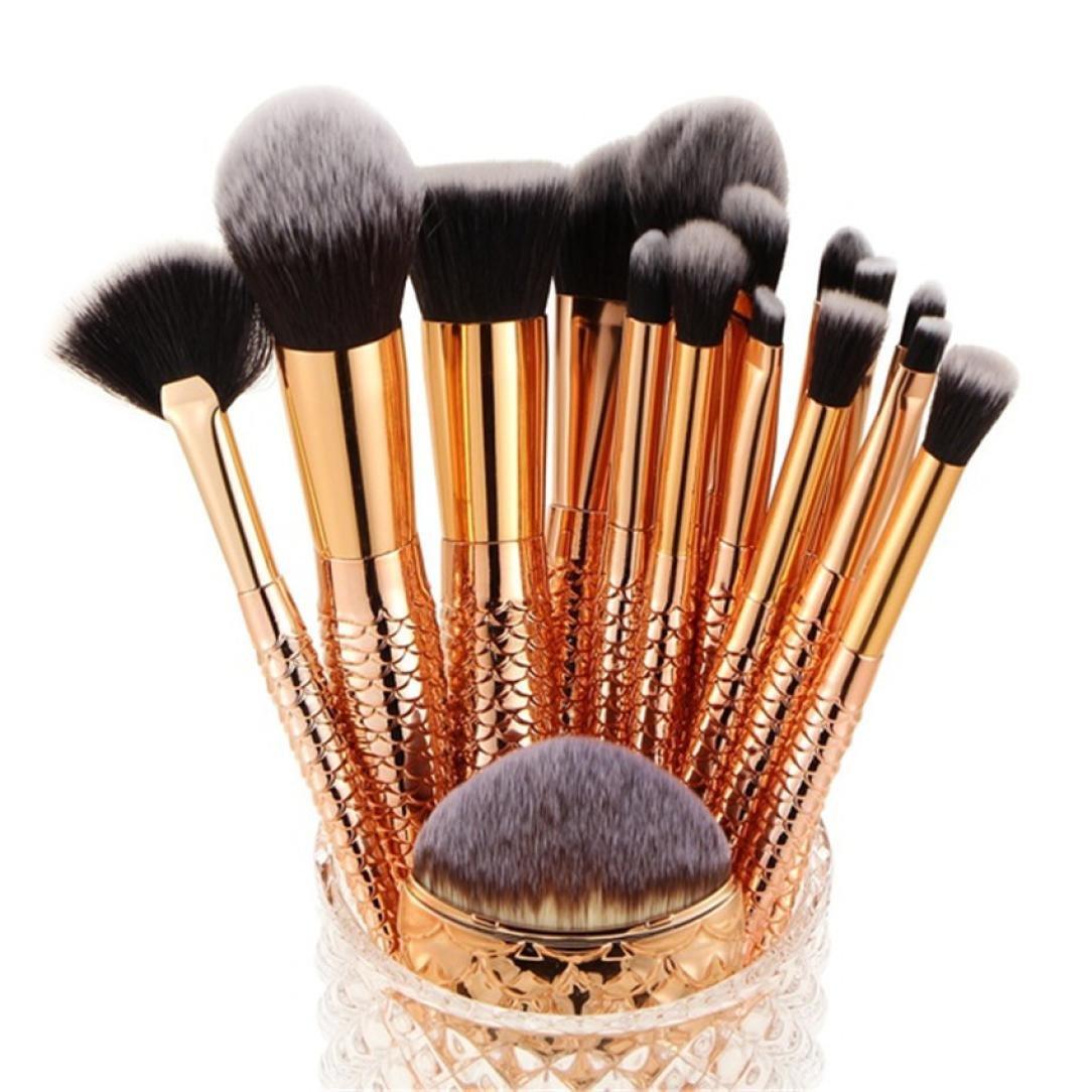 16 Pieces Makeup Brush Set, Staron Makeup Brushes Kit Foundation Cosmetic Eye Shadow Eyeliner Blush Concealer Mermaid Makeup Brushes Tool (Gold)