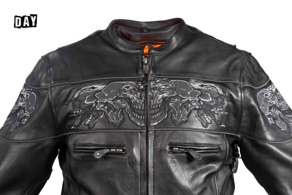 Dream Men's Motorcycle Riding Blk Reflective Skull Leather Jacket Big Sizes Upto 10xl (6XL Regular) by Dream (Image #8)