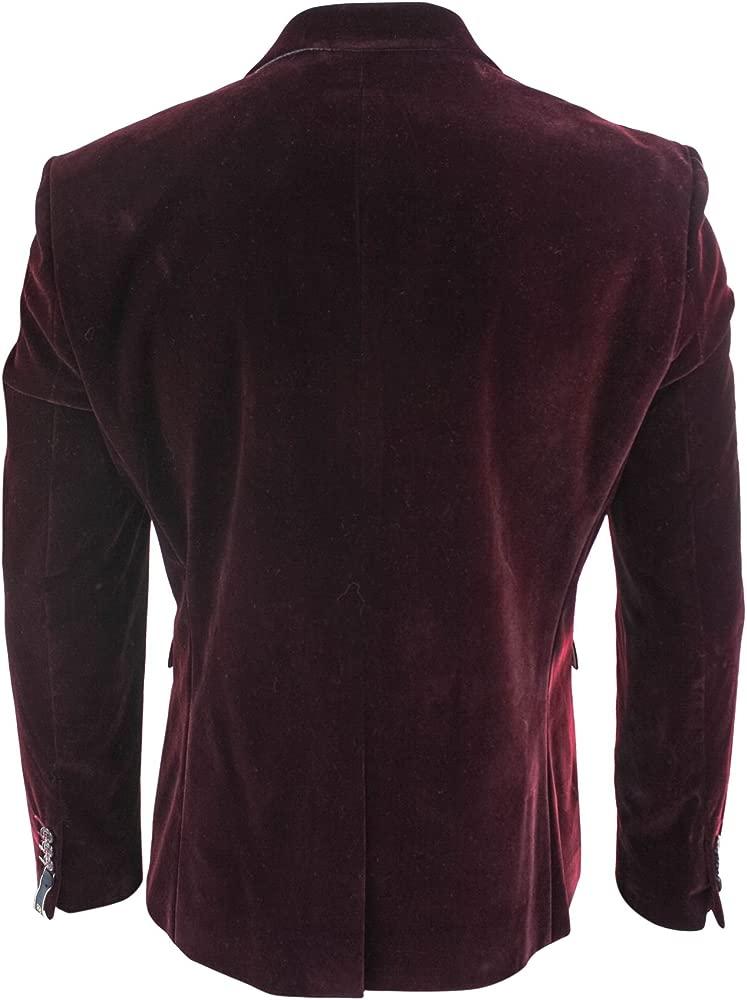 Men Soft Velvet Wine Maroon 1 Button Dinner Jacket Tuxedo ...
