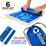 Travel Space Saver Bags (Includes Luggage Tag & Shoe Bag) Roll-Up Compression Storage Bags for Clothes (No Vacuum Needed) Packing Organizers for Travel and Home Storage. By Solse