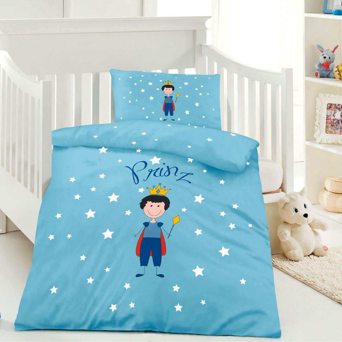 optidream Kinder Bettwäsche Prinz Blau 100x135 + 40x60 cm