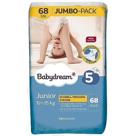 babydream pañales Junior Jumbo Pack 68 unidades tamaño 5, 12 – 25 Kg, pañales