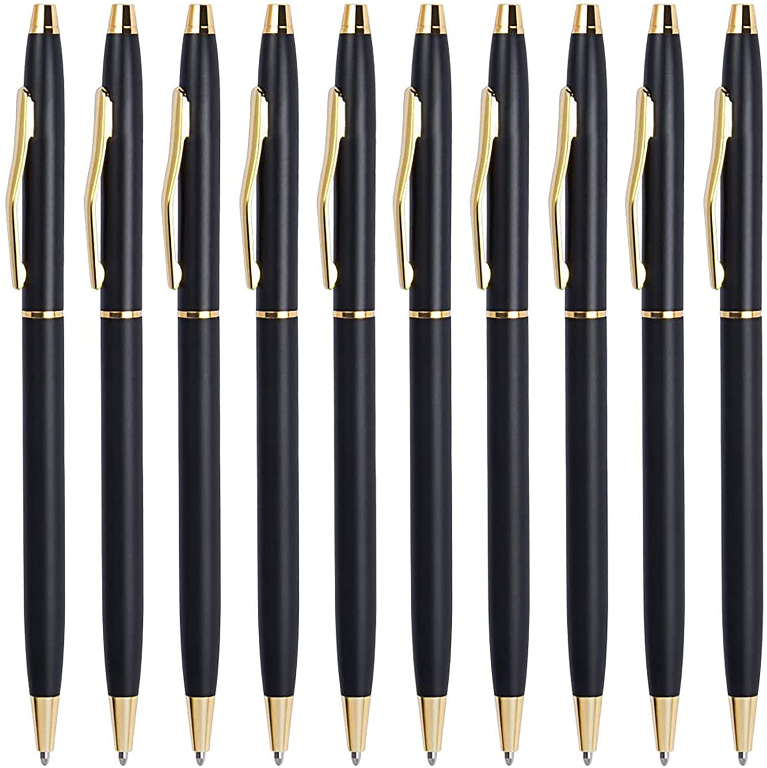 Black Pens, Cambond Ballpoint Pen Bulk Black Ink 1.0 mm Medium Point Smooth Writing for Men Women Police Uniform Office Business, 10 Pack (Black) - CP0101-10