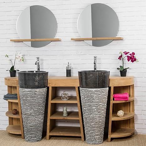 wanda collection Mueble de baño de Teca Florencia Doble 180cm + lavabos Negro