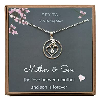 EFYTAL Mothers Day Mom Gifts 925 Sterling Silver Mother And Son CZ Necklace