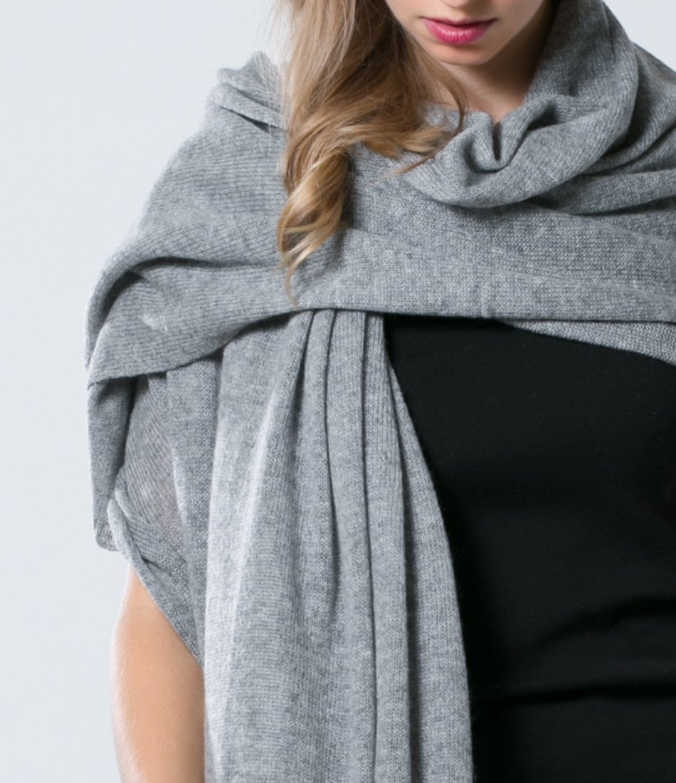Super Soft Oversized 100% Cashmere Travel Blanket Scarf Wrap - Heather Grey by Anna Kristine (Image #2)