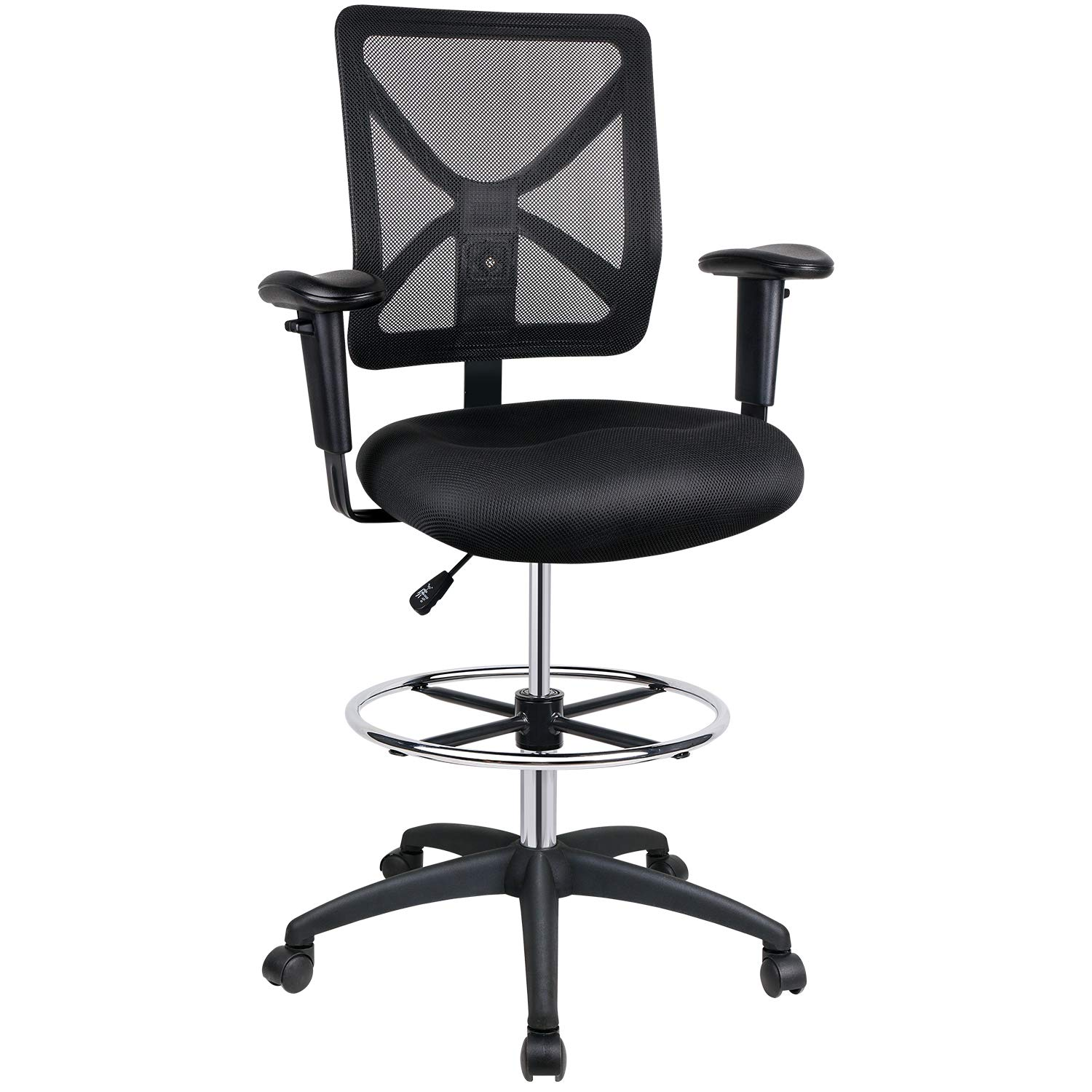 Leopard Mesh Drafting Chair Mid-Back, Adjustable Office Chair with Wheels with Footring, Swivel Work Stools with Back with Armrest, Black by Leopard Outdoor Products
