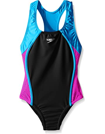 437a74ff93991 Speedo Girls Mesh Splice Thick Strap One Piece Swimsuit