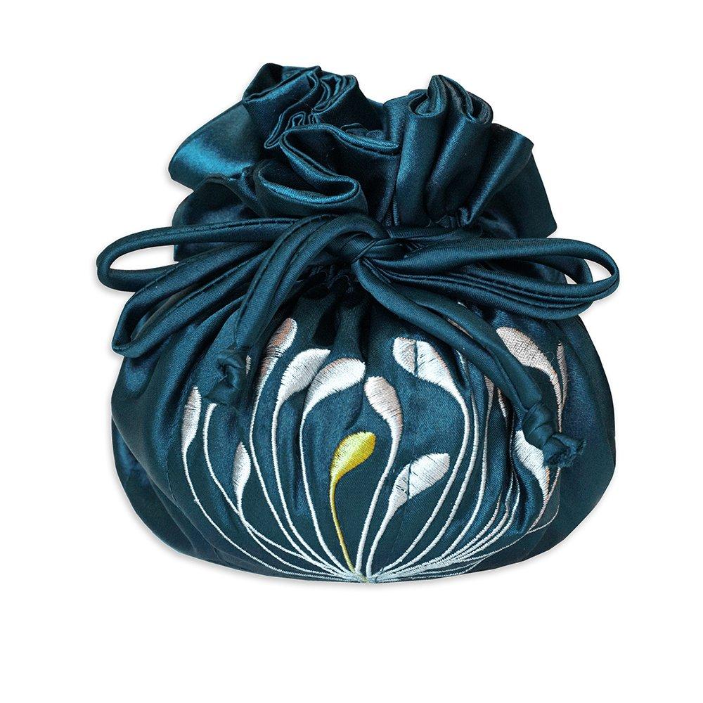 Drawstring Jewelry Pouch - Embroidered Chrysanthemum (Deep Purple) ACS144ST-deeppurple