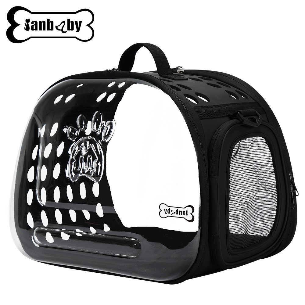 Pet Products Transparent Pet Carrier Breathable Portable Foldable Travel Kennel for Small or Medium Cat, Dog Breed with EVA Material Soft-Side Hard Cover Handbag Puppy Carrying Shoulder Bags (BLACK)