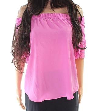 c046ff01ac435e Moa Moa Fuschia Women's Laser Cut Off Shoulder Blouse Pink XS at ...