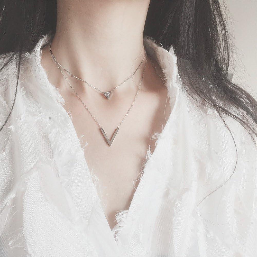 VQYSKO Femme Collier Double Chaine V et Triangle Strass Brillant Acier Inoxydable Collier Cr/éatif Cadeau et Bo/îte