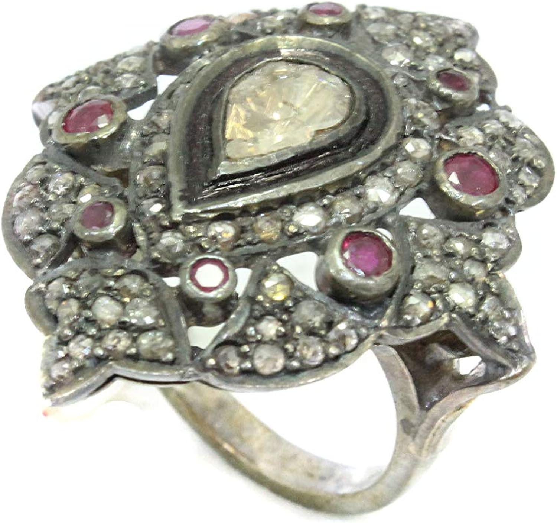 PH - Anillo de plata de ley 925 con diseño victoriano con diamantes de corte rosa y rubí rojo - 04
