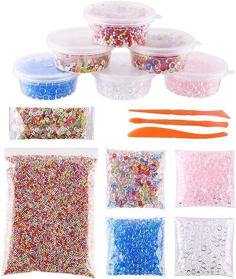 Decora Slime Making Kits suministros, perlas de Pecera, espuma bolas, cajas de almacenamiento, tapas Plus Making herramientas y flores de frutas rebanadas para bricolaje Art Craft, caseros Slime, boda y fiesta decoración: